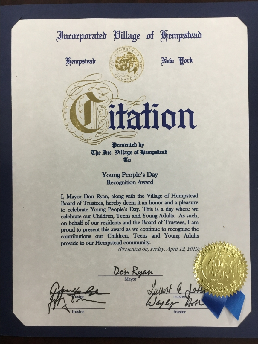 Hempstead Village Young People's Day Citation